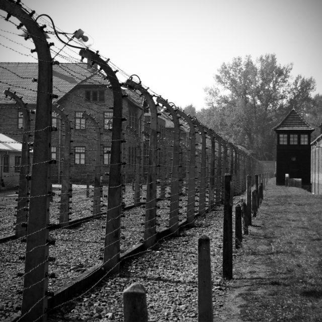 En bild av stängsel och byggnader vid Auschwitz birkenau.