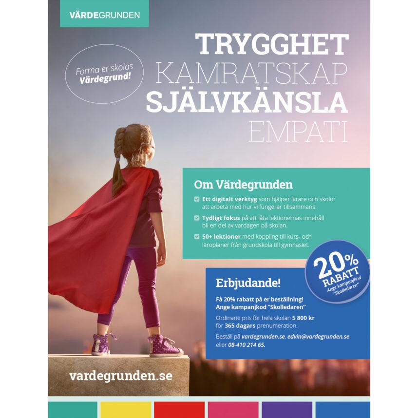 Annons för Värdegrunden i tidningen Skolledaren.